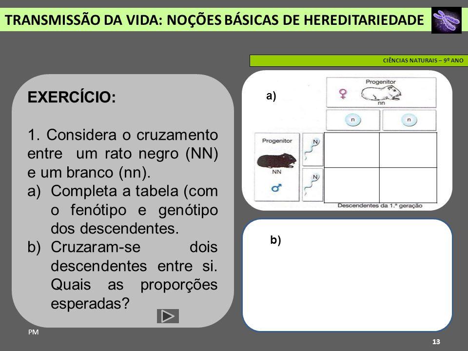 TRANSMISSÃO DA VIDA: NOÇÕES BÁSICAS DE HEREDITARIEDADE PM CIÊNCIAS NATURAIS – 9º ANO 13 EXERCÍCIO: 1. Considera o cruzamento entre um rato negro (NN)