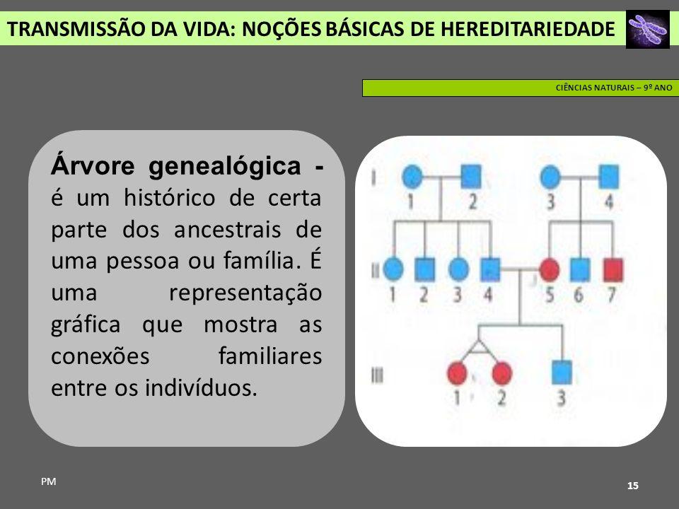 TRANSMISSÃO DA VIDA: NOÇÕES BÁSICAS DE HEREDITARIEDADE PM CIÊNCIAS NATURAIS – 9º ANO 15 Árvore genealógica - é um histórico de certa parte dos ancestr