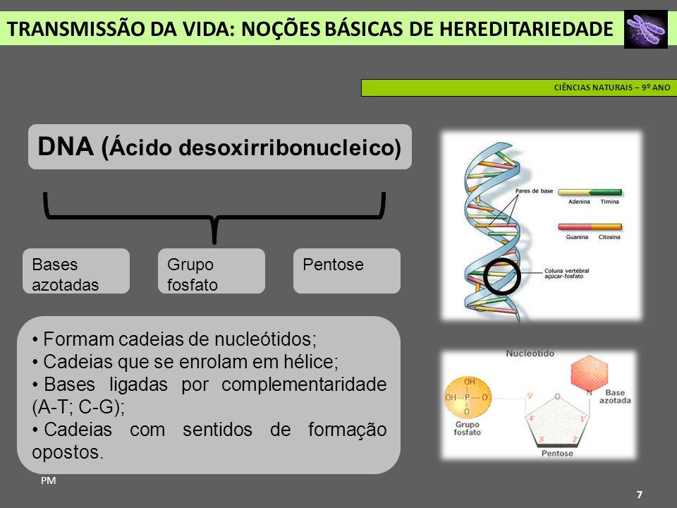 TRANSMISSÃO DA VIDA: NOÇÕES BÁSICAS DE HEREDITARIEDADE PM CIÊNCIAS NATURAIS – 9º ANO 7 DNA ( Ácido desoxirribonucleico) Bases azotadas Grupo fosfato P