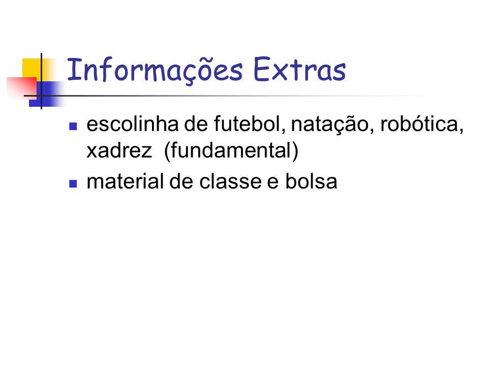 Informações Extras escolinha de futebol, natação, robótica, xadrez (fundamental) material de classe e bolsa