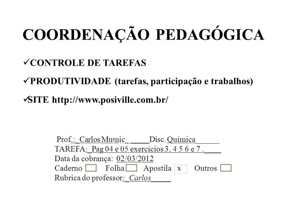COORDENAÇÃO PEDAGÓGICA CONTROLE DE TAREFAS PRODUTIVIDADE (tarefas, participação e trabalhos) SITE http://www.posiville.com.br/ Prof.:_Carlos Mumic______Disc.