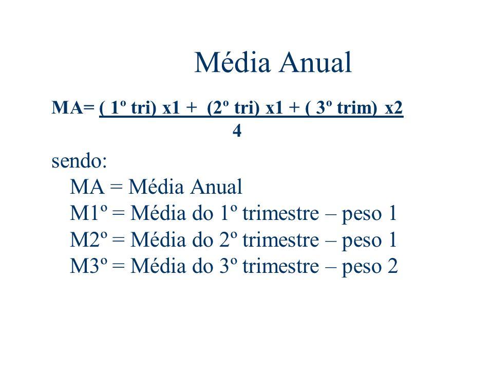 Média Anual MA= ( 1º tri) x1 + (2º tri) x1 + ( 3º trim) x2 4 sendo: MA = Média Anual M1º = Média do 1º trimestre – peso 1 M2º = Média do 2º trimestre – peso 1 M3º = Média do 3º trimestre – peso 2
