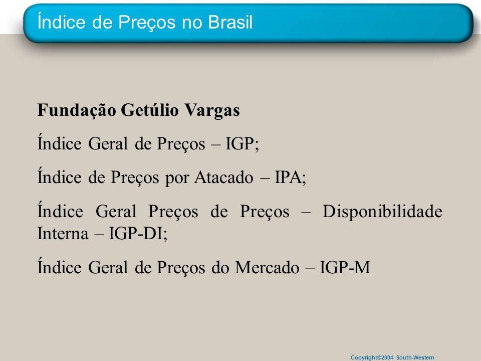 Copyright©2004 South-Western Índice de Preços no Brasil Fundação Getúlio Vargas Índice Geral de Preços – IGP; Índice de Preços por Atacado – IPA; Índi