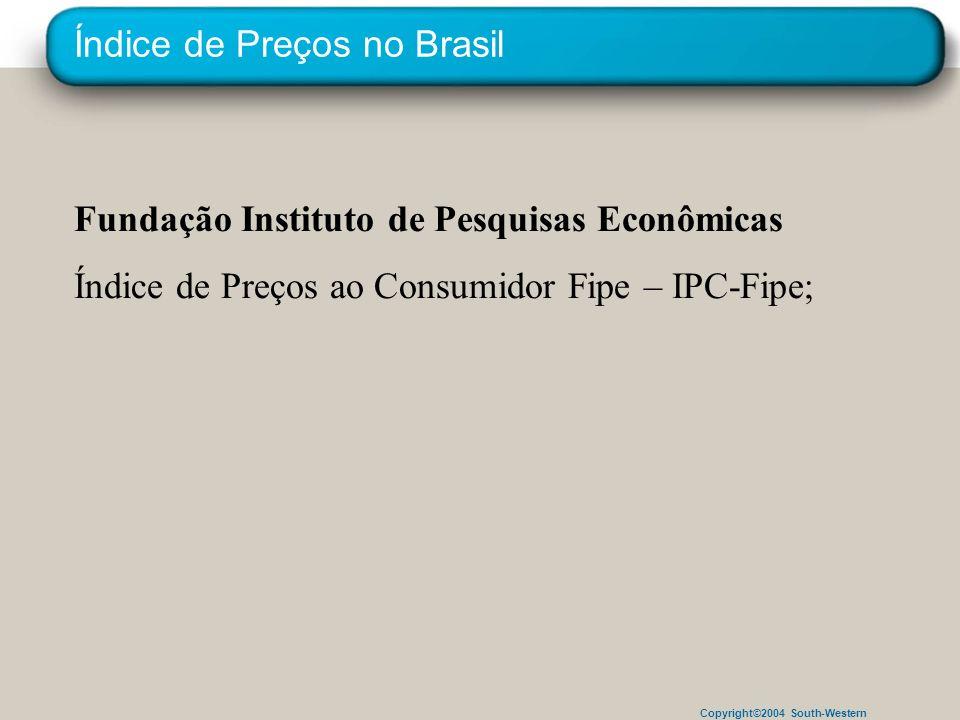 Copyright©2004 South-Western Índice de Preços no Brasil Fundação Instituto de Pesquisas Econômicas Índice de Preços ao Consumidor Fipe – IPC-Fipe;