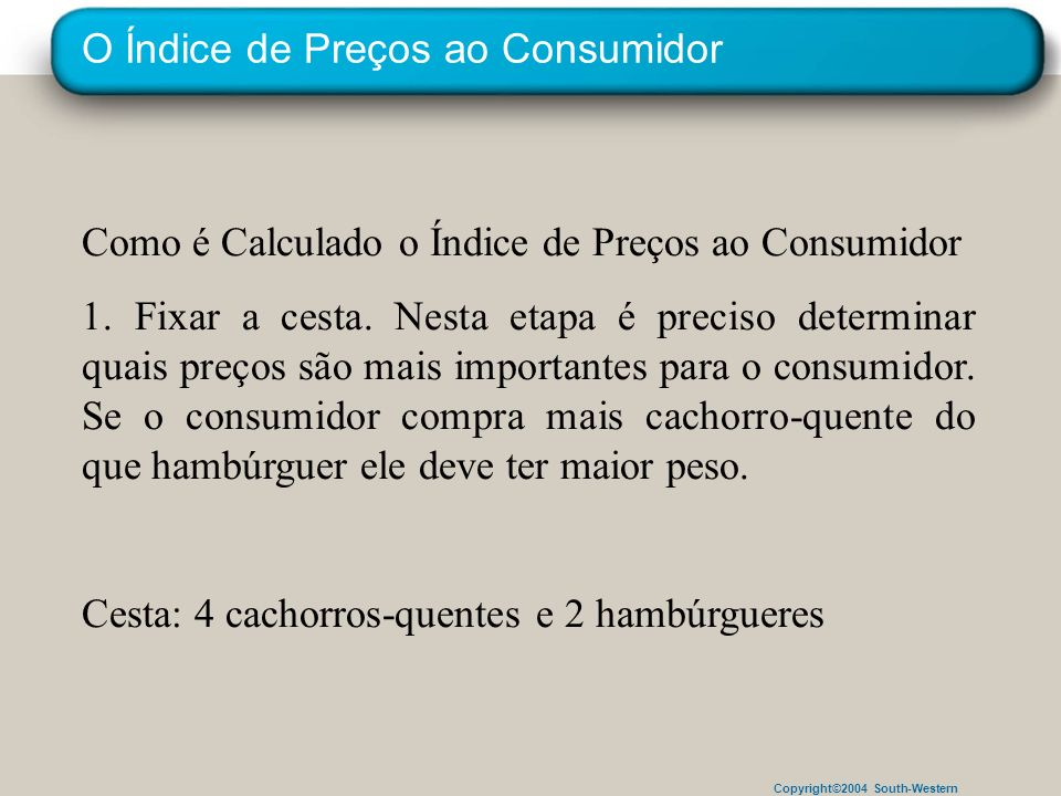 Copyright©2004 South-Western O Índice de Preços ao Consumidor Como é Calculado o Índice de Preços ao Consumidor 1. Fixar a cesta. Nesta etapa é precis