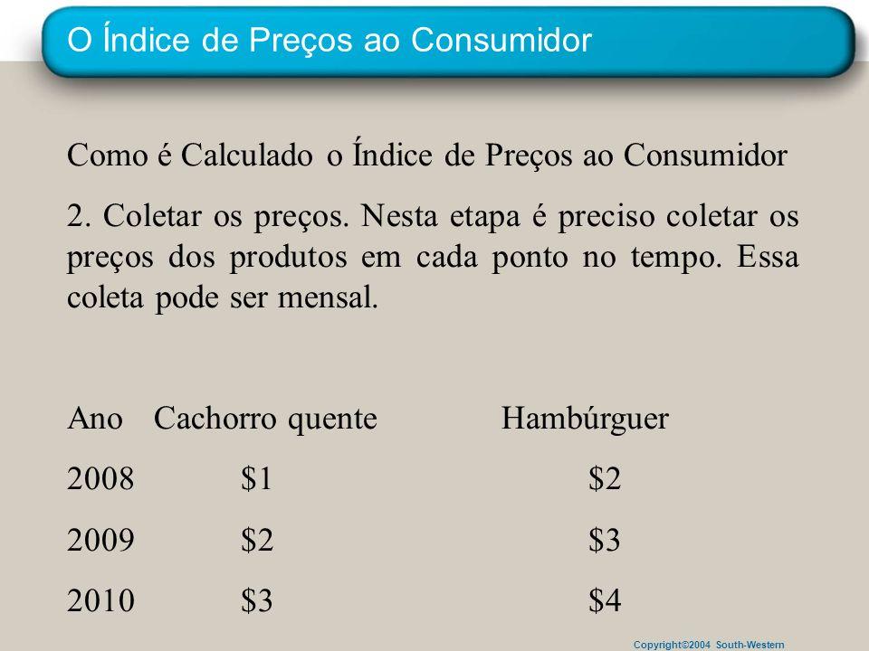 Copyright©2004 South-Western O Índice de Preços ao Consumidor Como é Calculado o Índice de Preços ao Consumidor 2. Coletar os preços. Nesta etapa é pr
