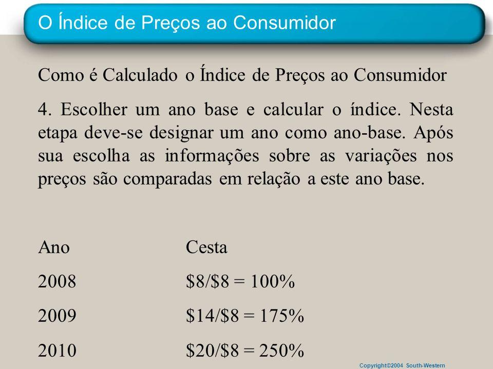 Copyright©2004 South-Western O Índice de Preços ao Consumidor Como é Calculado o Índice de Preços ao Consumidor 4. Escolher um ano base e calcular o í