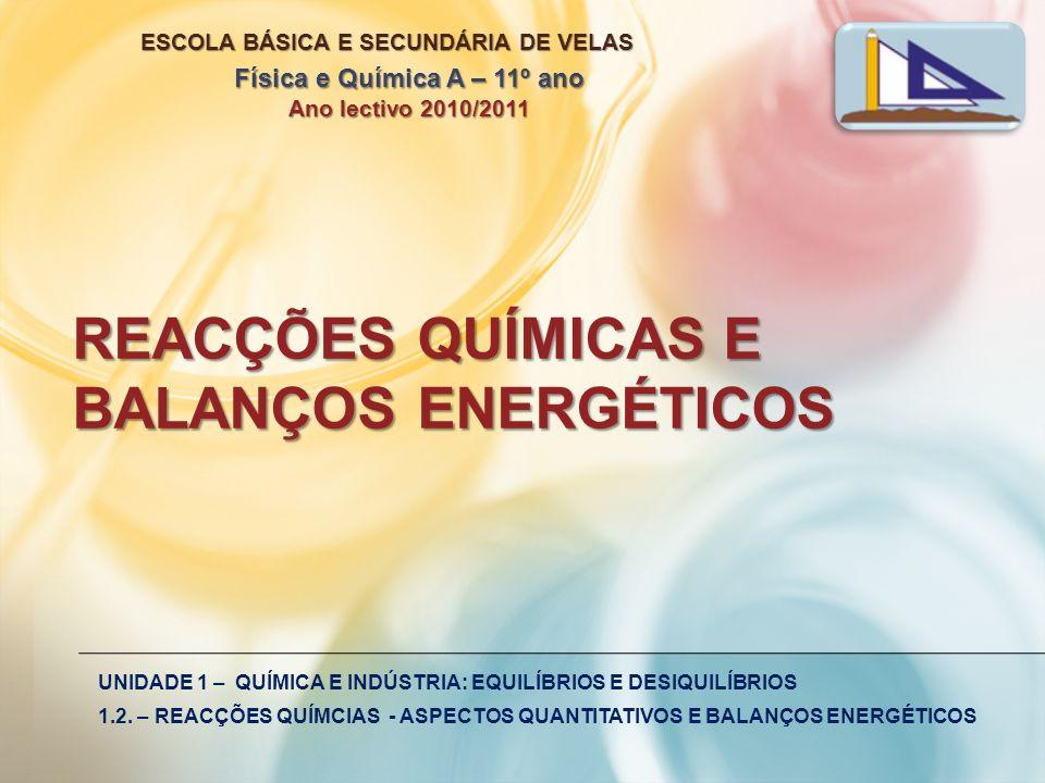 REACÇÕES QUÍMICAS E BALANÇOS ENERGÉTICOS UNIDADE 1 – QUÍMICA E INDÚSTRIA: EQUILÍBRIOS E DESIQUILÍBRIOS 1.2. – REACÇÕES QUÍMCIAS - ASPECTOS QUANTITATIV