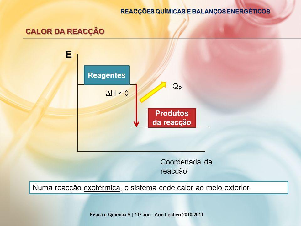 REACÇÕES QUÍMICAS E BALANÇOS ENERGÉTICOS CALOR DA REACÇÃO Física e Química A | 11º ano Ano Lectivo 2010/2011 E Coordenada da reacção Reagentes Produto
