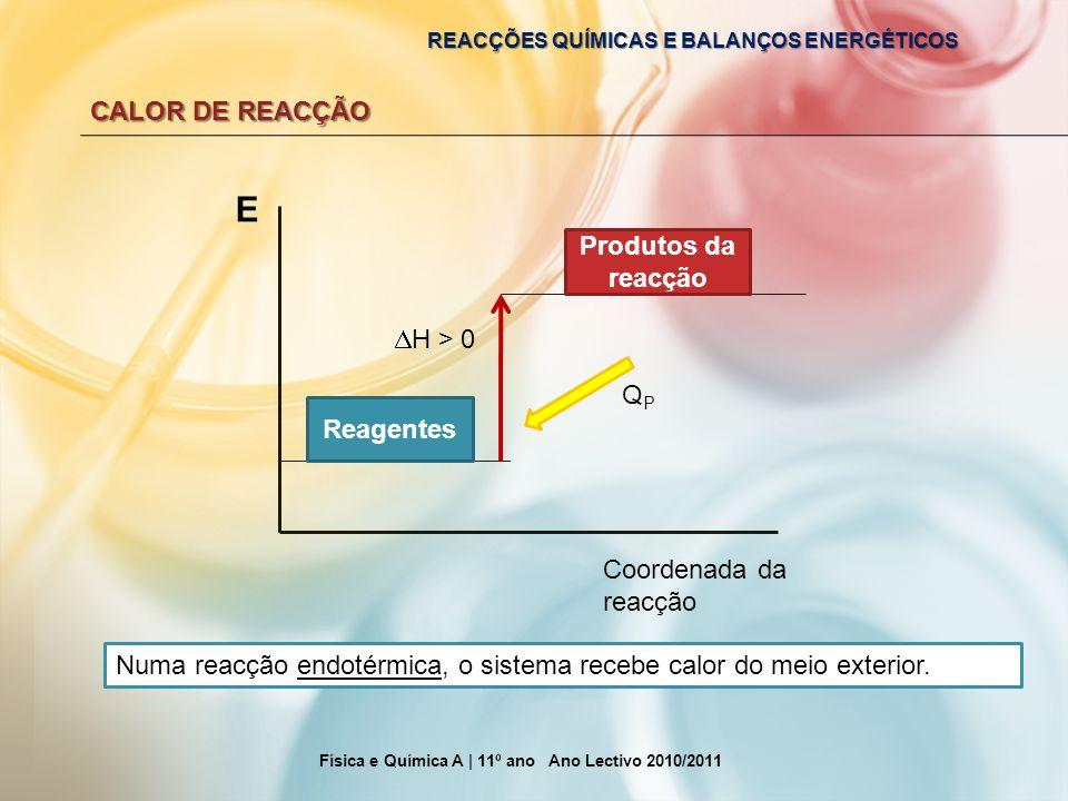 REACÇÕES QUÍMICAS E BALANÇOS ENERGÉTICOS CALOR DE REACÇÃO Física e Química A | 11º ano Ano Lectivo 2010/2011 E Coordenada da reacção Reagentes Produto