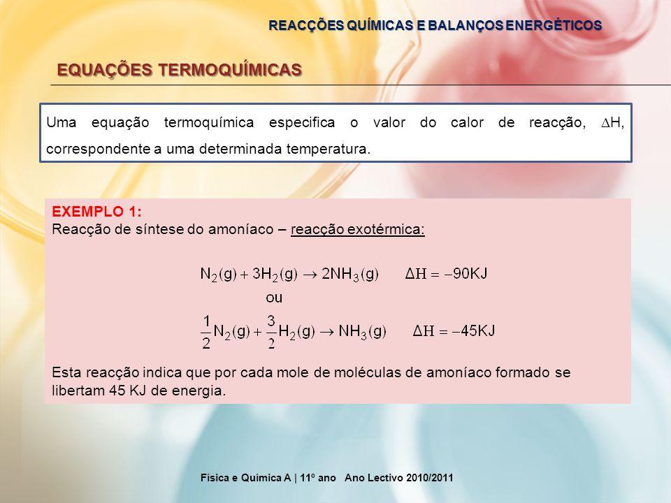 REACÇÕES QUÍMICAS E BALANÇOS ENERGÉTICOS EQUAÇÕES TERMOQUÍMICAS Física e Química A | 11º ano Ano Lectivo 2010/2011 Uma equação termoquímica especifica