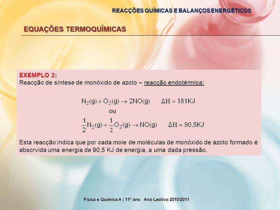 REACÇÕES QUÍMICAS E BALANÇOS ENERGÉTICOS EQUAÇÕES TERMOQUÍMICAS Física e Química A | 11º ano Ano Lectivo 2010/2011 EXEMPLO 2: Reacção de síntese de mo