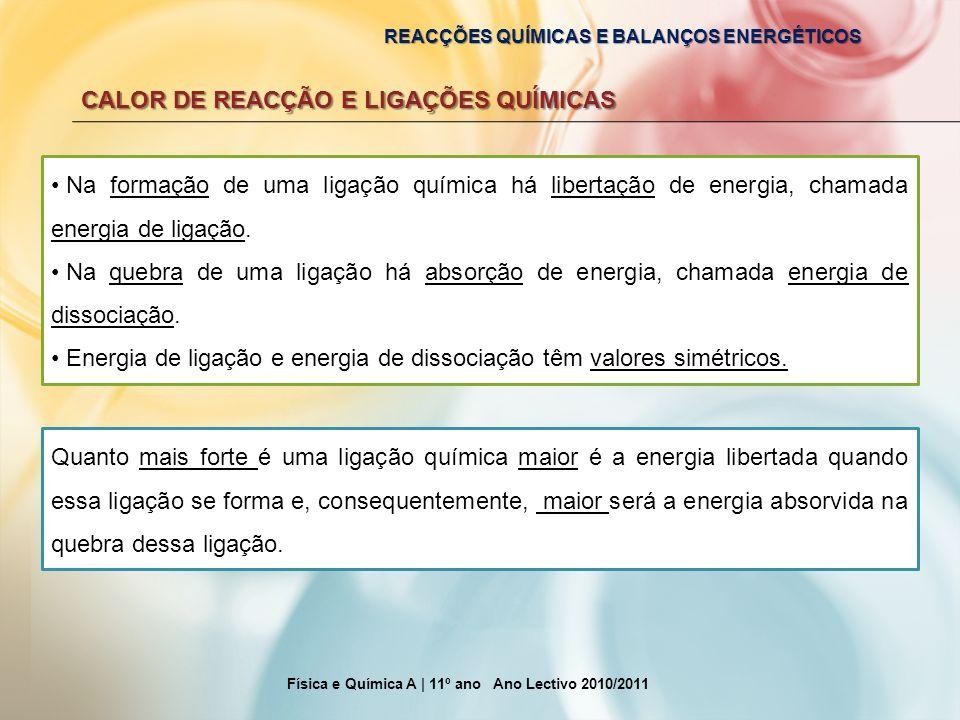REACÇÕES QUÍMICAS E BALANÇOS ENERGÉTICOS CALOR DE REACÇÃO E LIGAÇÕES QUÍMICAS Física e Química A | 11º ano Ano Lectivo 2010/2011 Na formação de uma li