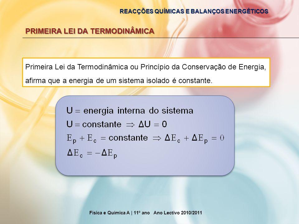 REACÇÕES QUÍMICAS E BALANÇOS ENERGÉTICOS PRIMEIRA LEI DA TERMODINÂMICA Primeira Lei da Termodinâmica ou Princípio da Conservação de Energia, afirma qu