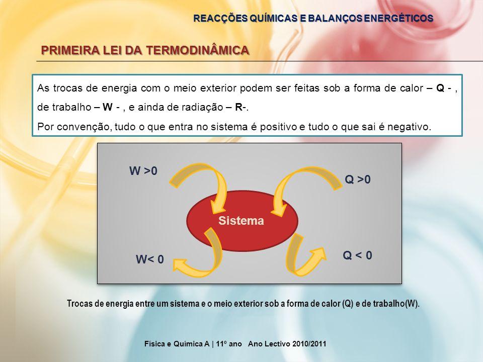 REACÇÕES QUÍMICAS E BALANÇOS ENERGÉTICOS PRIMEIRA LEI DA TERMODINÂMICA Física e Química A | 11º ano Ano Lectivo 2010/2011 As trocas de energia com o m