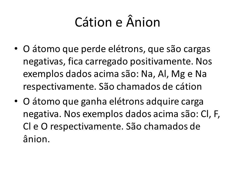 Cátion e Ânion O átomo que perde elétrons, que são cargas negativas, fica carregado positivamente. Nos exemplos dados acima são: Na, Al, Mg e Na respe