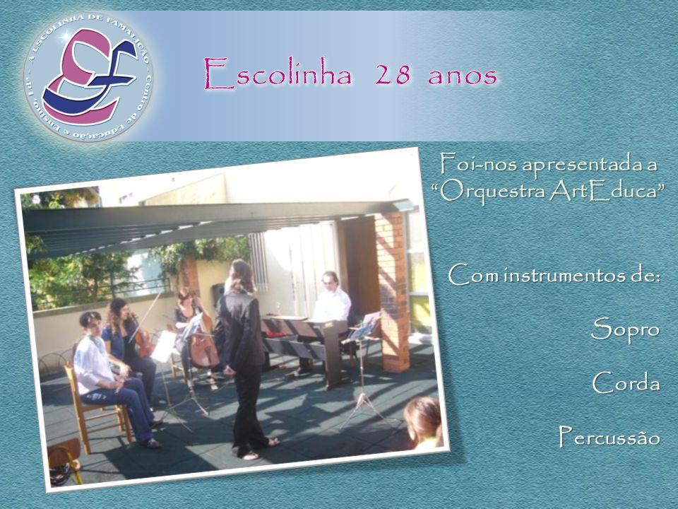 Foi-nos apresentada a Orquestra ArtEduca Com instrumentos de: SoproCordaPercussão