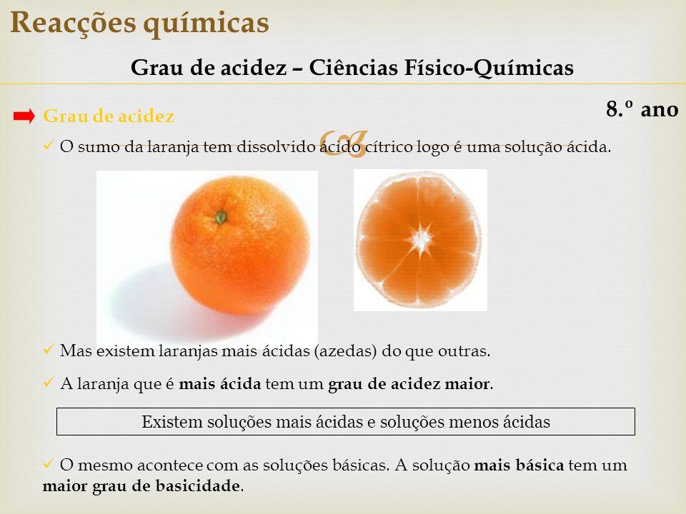 Reacções químicas Grau de acidez – Ciências Físico-Químicas 8.º ano Grau de acidez O sumo da laranja tem dissolvido ácido cítrico logo é uma solução á