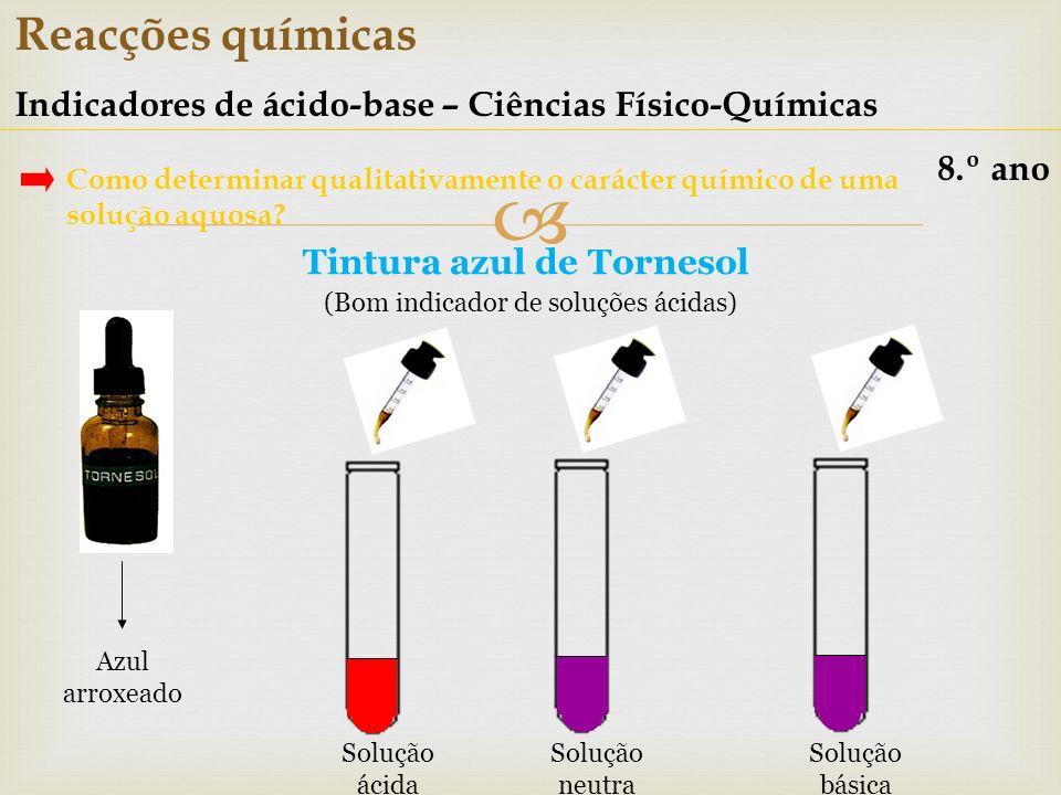 Reacções químicas Indicadores de ácido-base – Ciências Físico-Químicas 8.º ano Como determinar qualitativamente o carácter químico de uma solução aquo