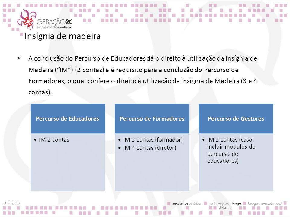 Insígnia de madeira A conclusão do Percurso de Educadores dá o direito à utilização da Insígnia de Madeira (IM) (2 contas) e é requisito para a conclu