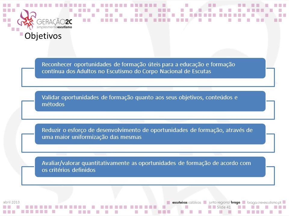 Objetivos abril 2013 Slide 41 Reconhecer oportunidades de formação úteis para a educação e formação contínua dos Adultos no Escutismo do Corpo Naciona