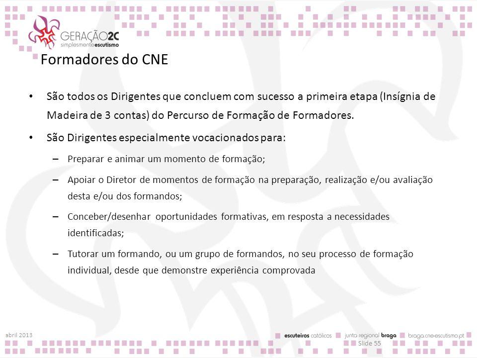 Formadores do CNE São todos os Dirigentes que concluem com sucesso a primeira etapa (Insígnia de Madeira de 3 contas) do Percurso de Formação de Forma