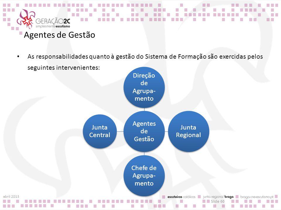 Agentes de Gestão As responsabilidades quanto à gestão do Sistema de Formação são exercidas pelos seguintes intervenientes: abril 2013 Slide 60 Agente