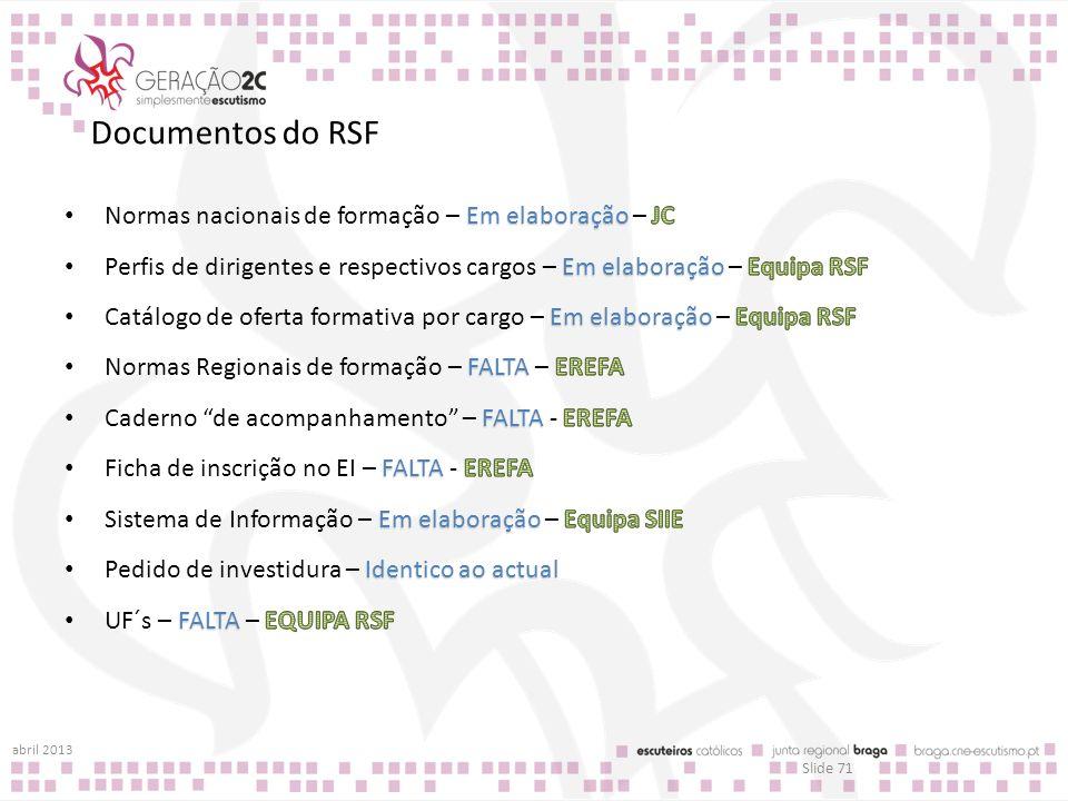 Documentos do RSF abril 2013 Slide 71