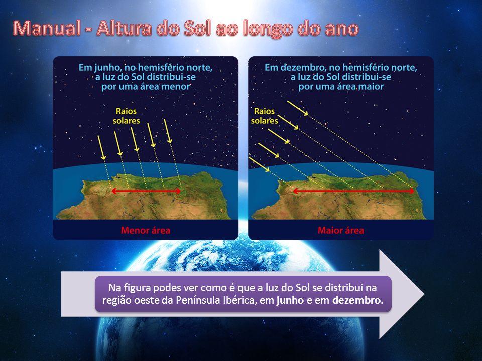 Na figura podes ver como é que a luz do Sol se distribui na região oeste da Península Ibérica, em junho e em dezembro.