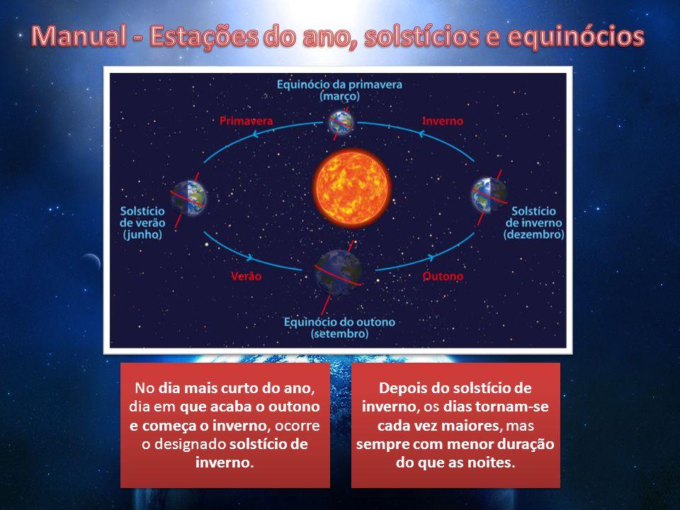 No dia mais curto do ano, dia em que acaba o outono e começa o inverno, ocorre o designado solstício de inverno. Depois do solstício de inverno, os di