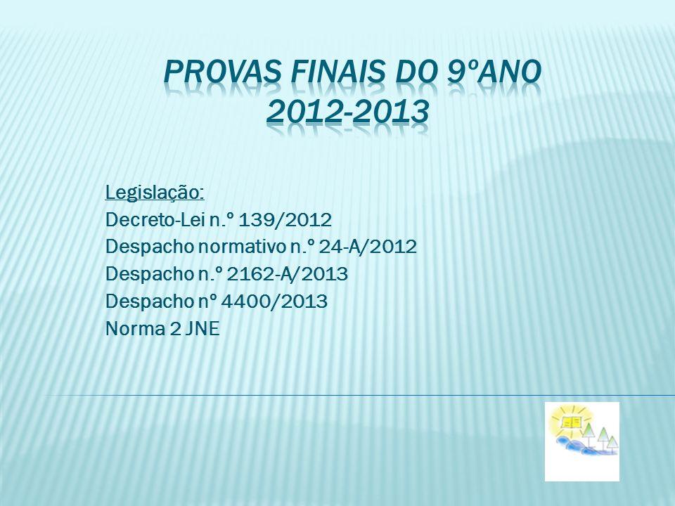 Legislação: Decreto-Lei n.º 139/2012 Despacho normativo n.º 24-A/2012 Despacho n.º 2162-A/2013 Despacho nº 4400/2013 Norma 2 JNE