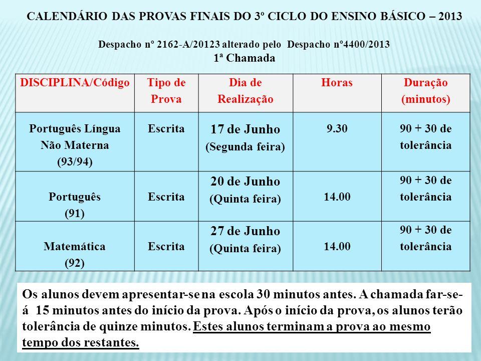 DISCIPLINA/Código Tipo de Prova Dia de Realização Horas Duração (minutos) Português Língua Não Materna (93/94) Escrita 17 de Junho (Segunda feira) 9.3