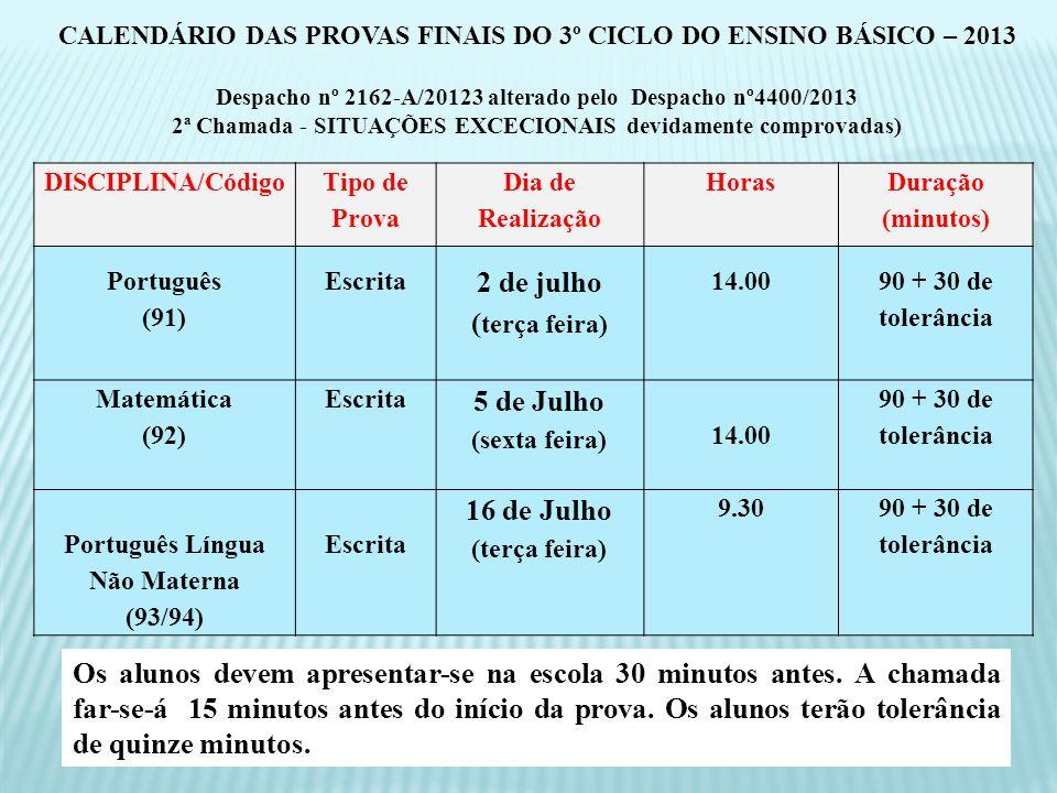 DISCIPLINA/Código Tipo de Prova Dia de Realização Horas Duração (minutos) Português (91) Escrita 2 de julho ( terça feira) 14.00 90 + 30 de tolerância