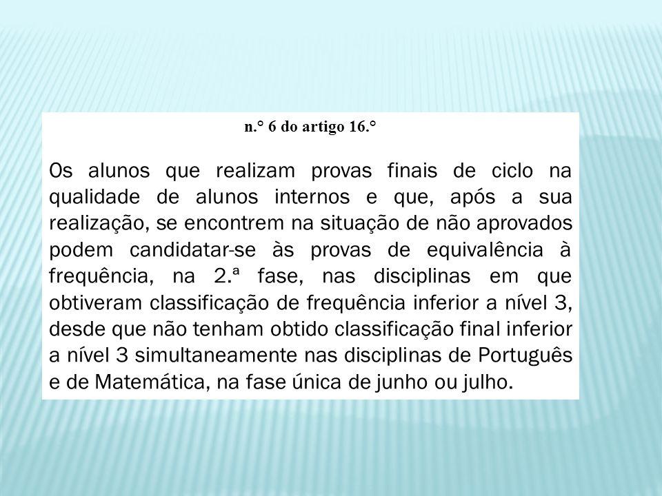 n.° 6 do artigo 16.° Os alunos que realizam provas finais de ciclo na qualidade de alunos internos e que, após a sua realização, se encontrem na situa