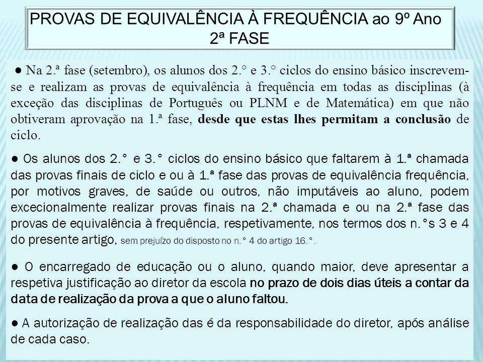 Na 2.ª fase (setembro), os alunos dos 2.° e 3.° ciclos do ensino básico inscrevem- se e realizam as provas de equivalência à frequência em todas as di