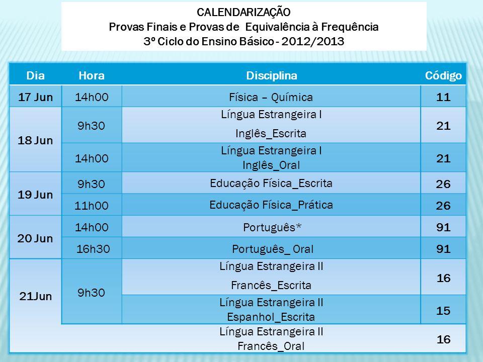 DiaHoraDisciplinaCódigo 17 Jun14h00Física – Química11 18 Jun 9h30 Língua Estrangeira I Inglês_Escrita 21 14h00 Língua Estrangeira I Inglês_Oral 21 19