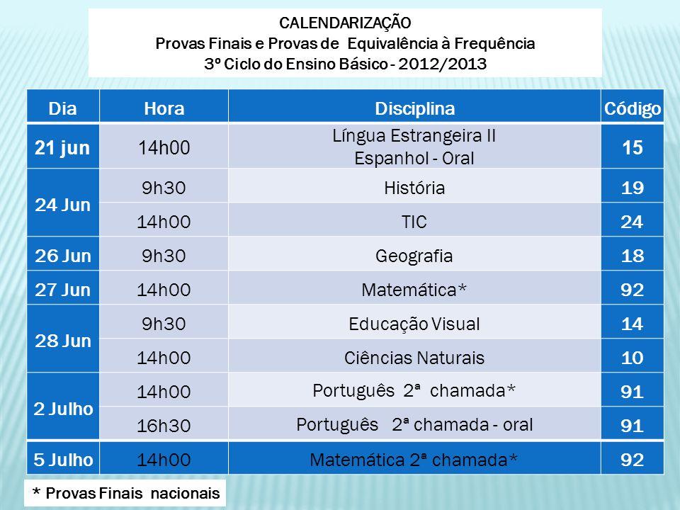 DiaHoraDisciplinaCódigo 21 jun14h00 Língua Estrangeira II Espanhol - Oral 15 24 Jun 9h30História19 14h00TIC24 26 Jun9h30Geografia18 27 Jun14h00Matemát