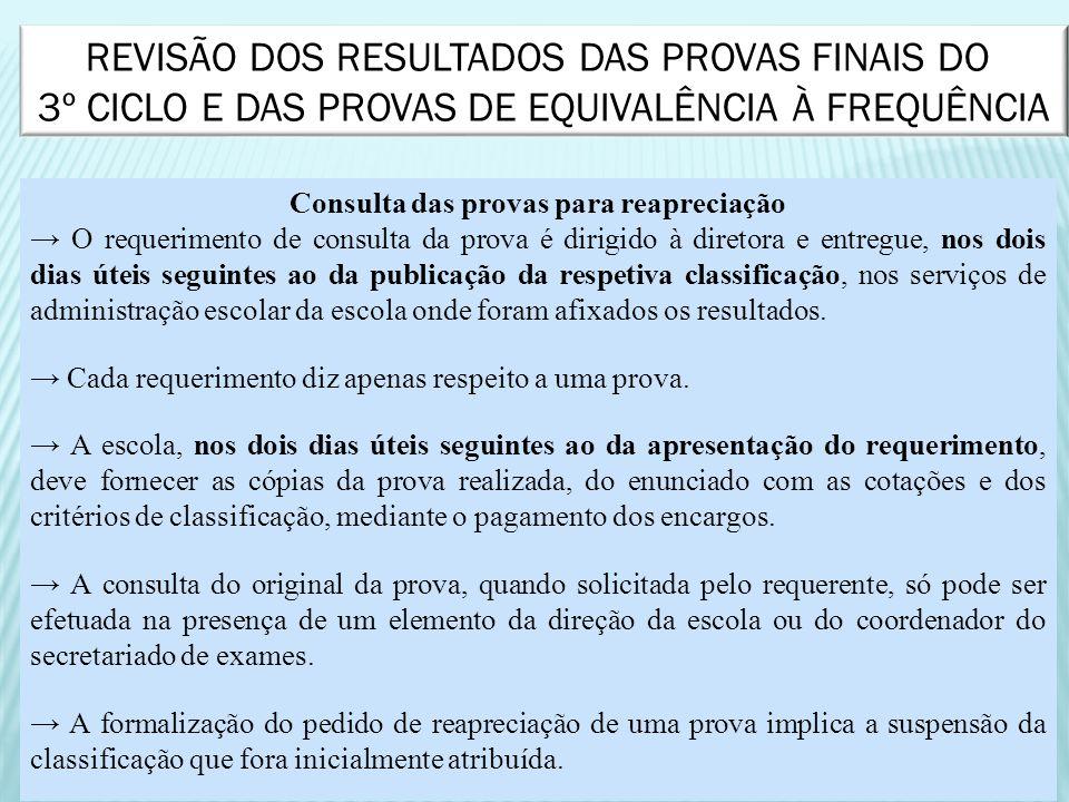 Consulta das provas para reapreciação O requerimento de consulta da prova é dirigido à diretora e entregue, nos dois dias úteis seguintes ao da public