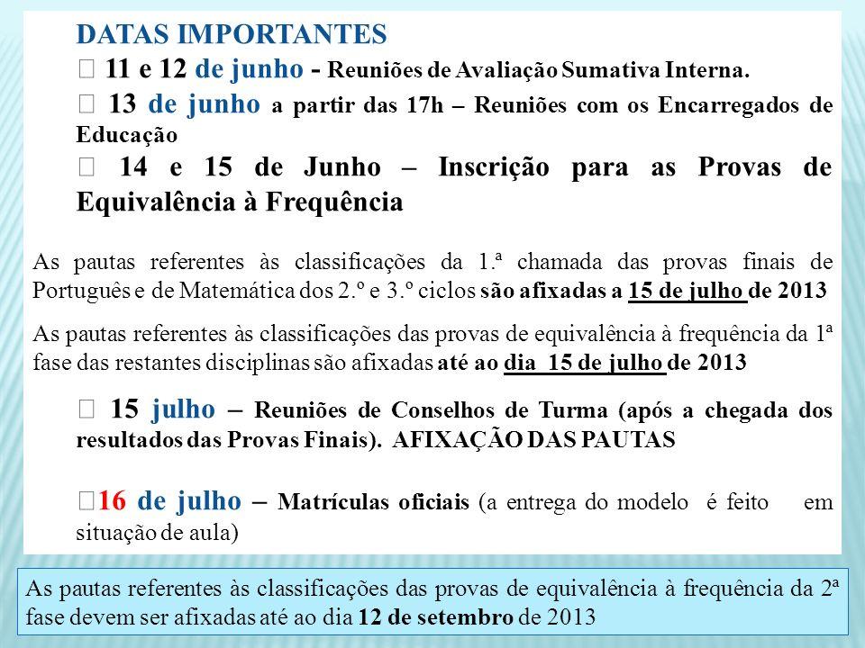DATAS IMPORTANTES 11 e 12 de junho - Reuniões de Avaliação Sumativa Interna. 13 de junho a partir das 17h – Reuniões com os Encarregados de Educação 1