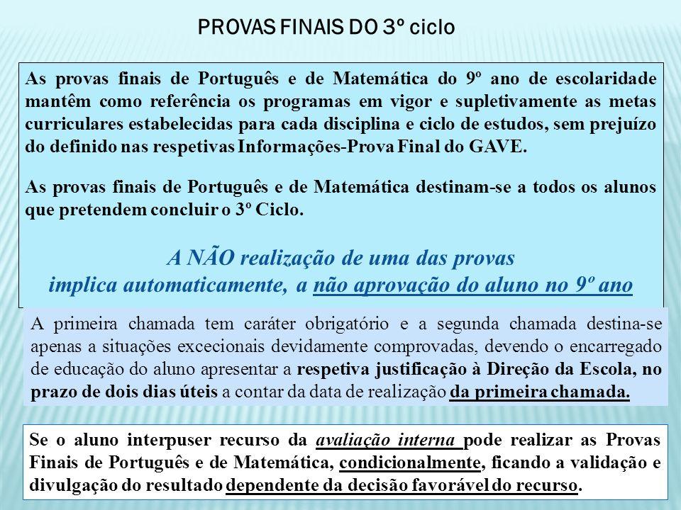 As provas finais de Português e de Matemática do 9º ano de escolaridade mantêm como referência os programas em vigor e supletivamente as metas curricu