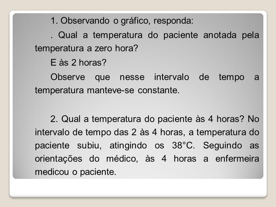 1. Observando o gráfico, responda:. Qual a temperatura do paciente anotada pela temperatura a zero hora? E às 2 horas? Observe que nesse intervalo de