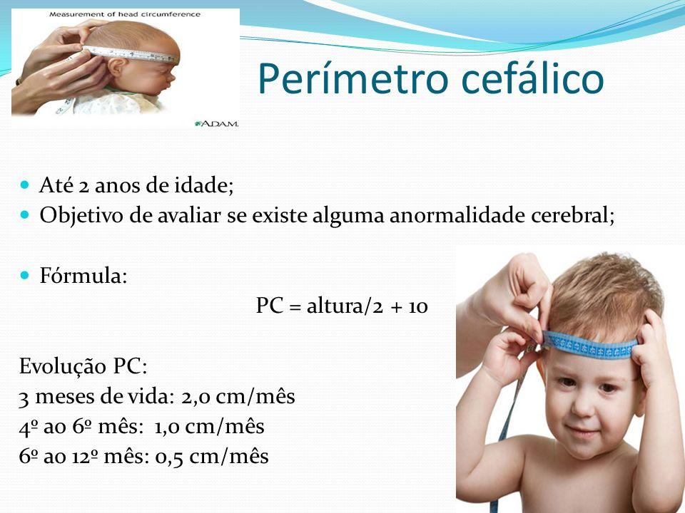 Perímetro cefálico Até 2 anos de idade; Objetivo de avaliar se existe alguma anormalidade cerebral; Fórmula: PC = altura/2 + 10 Evolução PC: 3 meses d