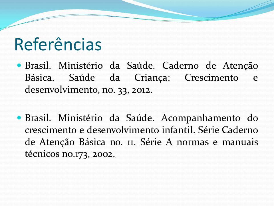 Referências Brasil. Ministério da Saúde. Caderno de Atenção Básica. Saúde da Criança: Crescimento e desenvolvimento, no. 33, 2012. Brasil. Ministério