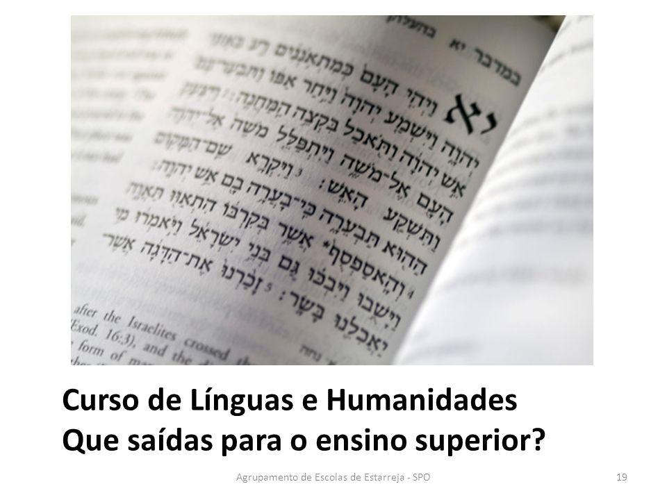 Agrupamento de Escolas de Estarreja - SPO Curso de Línguas e Humanidades Que saídas para o ensino superior? 19