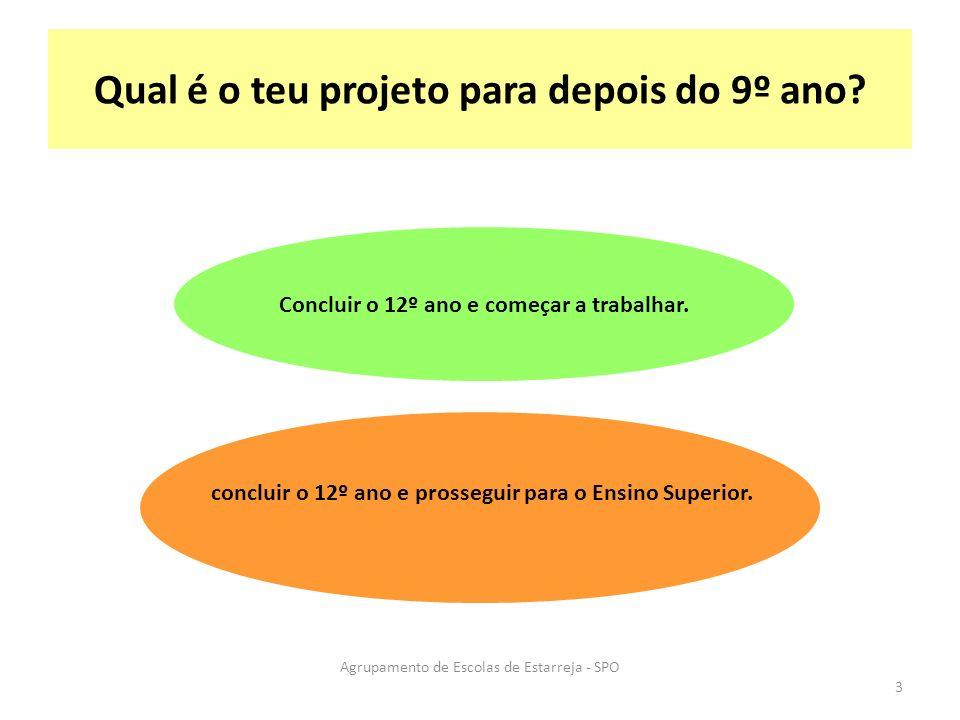Qual é o teu projeto para depois do 9º ano? Concluir o 12º ano e começar a trabalhar. concluir o 12º ano e prosseguir para o Ensino Superior. Agrupame