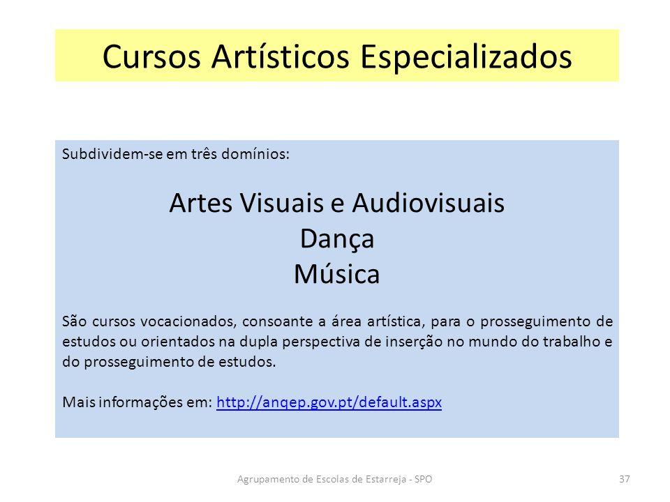 Agrupamento de Escolas de Estarreja - SPO Cursos Artísticos Especializados Subdividem-se em três domínios: Artes Visuais e Audiovisuais Dança Música S