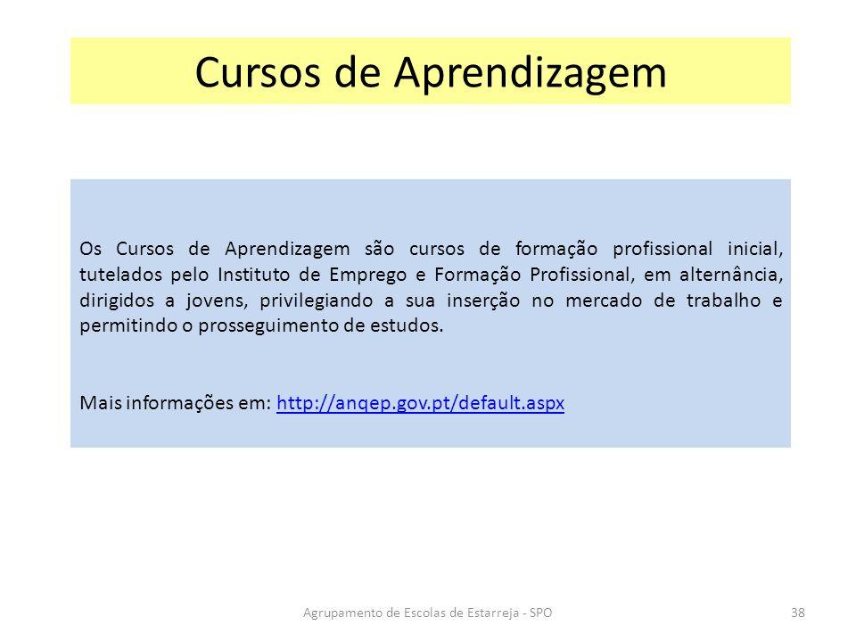Agrupamento de Escolas de Estarreja - SPO Cursos de Aprendizagem Os Cursos de Aprendizagem são cursos de formação profissional inicial, tutelados pelo