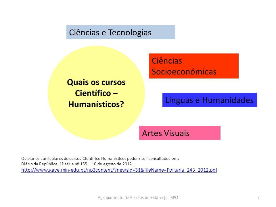 Ciências e Tecnologias Ciências Socioeconómicas Línguas e Humanidades Artes Visuais Os planos curriculares do cursos Científico Humanísticos podem ser