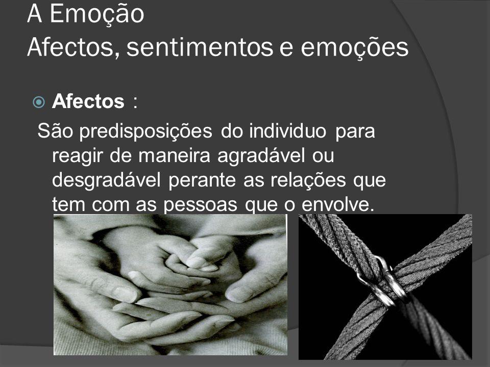 A Emoção Afectos, sentimentos e emoções Sentimentos : São estados afectivos agradáveis ou desagradáveis que modera a relação do indinvidou com as pessoas em relação.