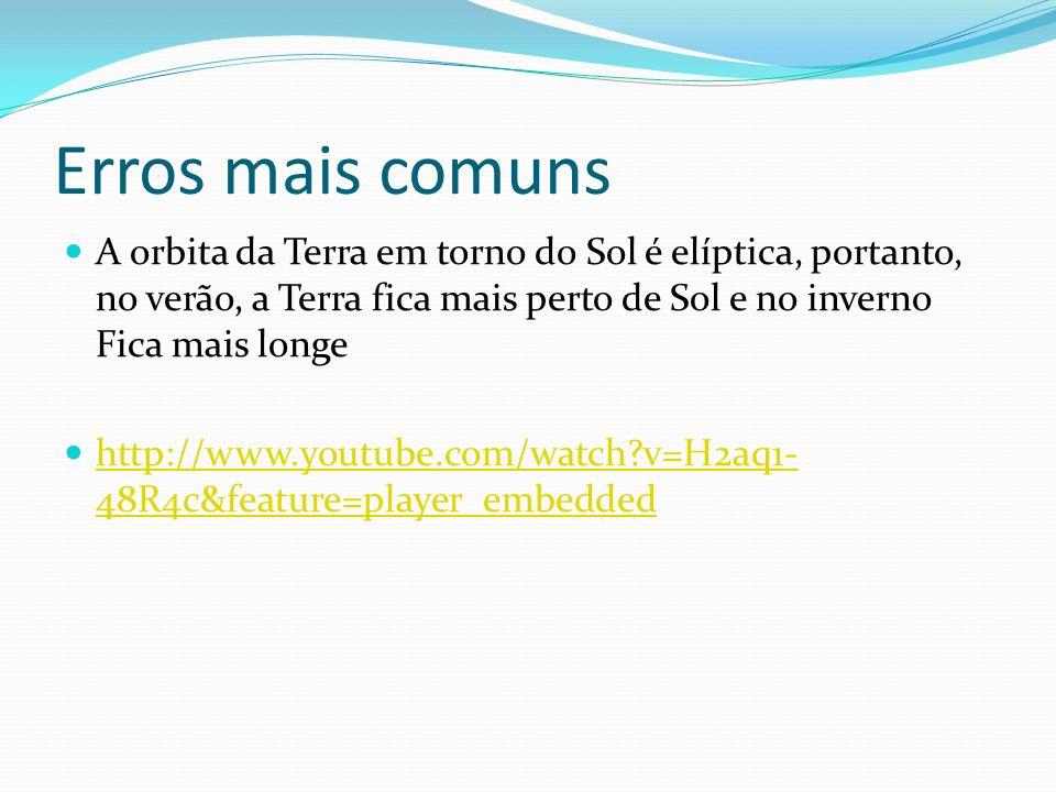 Erros mais comuns A orbita da Terra em torno do Sol é elíptica, portanto, no verão, a Terra fica mais perto de Sol e no inverno Fica mais longe http://www.youtube.com/watch?v=H2aq1- 48R4c&feature=player_embedded http://www.youtube.com/watch?v=H2aq1- 48R4c&feature=player_embedded